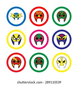 Mexican wrestling masks icon on a white background