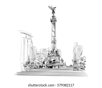 Mexico. Angel of independence. Hand drawn vector illustration.