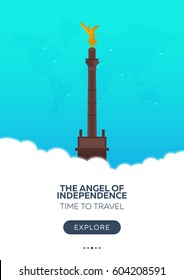 Mexico. The Angel of Independence. Time to travel. Travel poster. Vector flat illustration