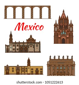 Mexico architecture landmarks and famous buildings facade line icons. Vector set of Mexican aqueduct, churches, cathedrals and monastery of Santa Rosa de Viterbo and Juarez theater in Guanajuato