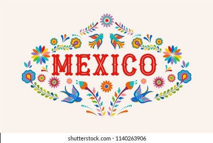 Mexico background, banner with colorful Mexican flowers, birds and elements. Vector illustration