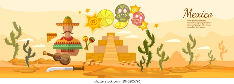 Mexico banner. Culture, attractions, cuisine. Mexico country art. Set of Mexico architecture, food, fashion, items, background