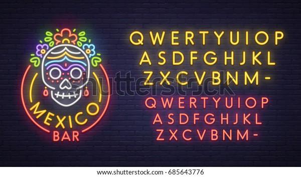Mexico Bar Neon Sign Bright Signboard Stock Vector (Royalty Free