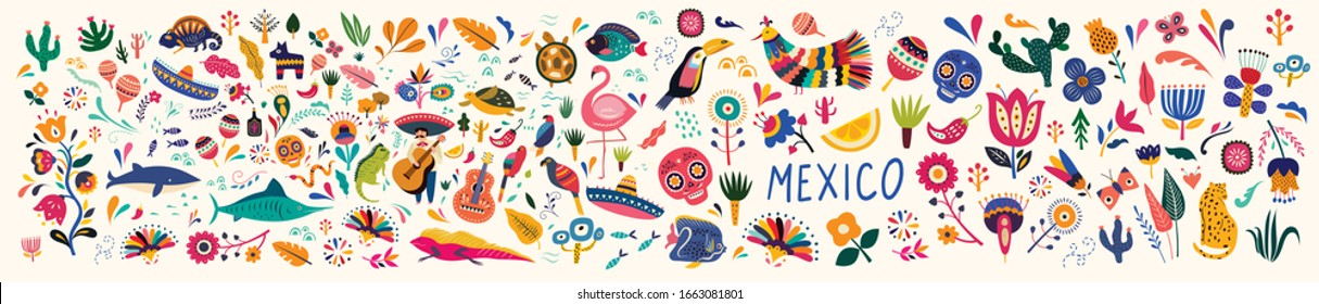 Mexico big collection. Mexican decorative vector pattern. Map of Mexico with traditional symbols and decorative elements. Symbols of Mexico