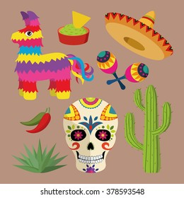 Mexico bright icon set with national mexican objects: sombrero, skull, agave, cactus, pinata, jalapeno peppers, maracas, guacamole and nacho chips isolated on brown background, vector illustration