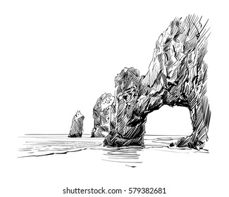 Mexico. Cabo San Lucas. El Arco. Hand drawn vector illustration.