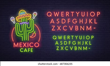 Mexico cafe neon sign, bright signboard, light banner. Logo, emblem. Neon sign creator. Neon text edit