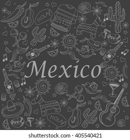 Mexico chalk line art design vector illustration. Separate objects. Hand drawn doodle design elements.