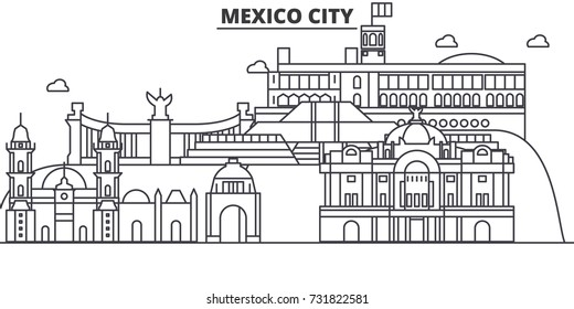 Mexico City architecture line skyline illustration. Linear vector cityscape with famous landmarks, city sights, design icons. Landscape wtih editable strokes