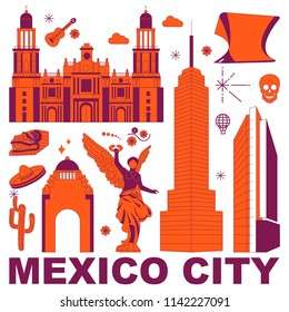 Mexico City culture travel set, famous architectures and specialties in flat design. Business travel and tourism concept clipart. Image for presentation, banner, website, advert, flyer, roadmap, icons