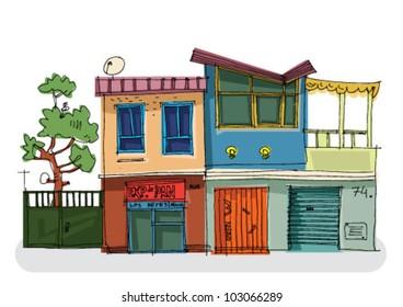 mexico city facade - cartoon