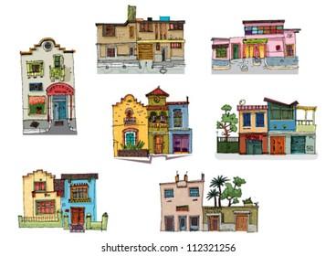 mexico city facades - cartoon - set