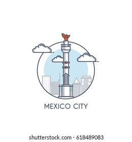 Mexico city flat line color icon with caption. City logo, landmark, vector symbol. Vector Illustration isolated on white background.