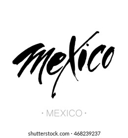 Mexico city, Mexico hand-lettering calligraphy. Mexico hand drawn vector stock illustration. Modern brush ink. Isolated on white background.