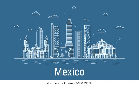 Mexico city, Line Art Vector illustration with all famous towers. Linear Banner with Showplace, Skyscrapers and hotels. Composition of Modern buildings, Cityscape. Mexico buildings set