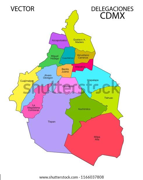 Mexico City Map Delegaciones Vector Illustration | Royalty ...