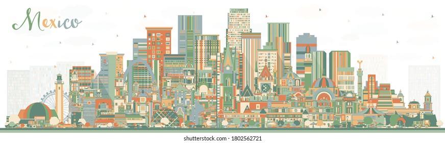 Mexico City Skyline with Color Buildings. Vector Illustration. Concept with Historic Architecture. Mexico Cityscape with Landmarks. Puebla. Mexico. Tijuana. Guadalajara.