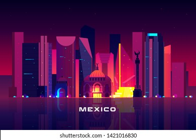 Mexico city skyline, neon illumination. Night cityscape architecture background, modern megapolis, glowing skyscrapers and famous angel landmark monument near waterfront Cartoon vector illustration