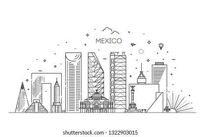 Mexico city skyline on a white background. Flat vector illustration