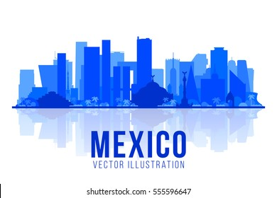 Mexico city skyline silhouette on a white background. Flat vector illustration. Business travel and tourism concept with modern buildings. Image for banner or web site.