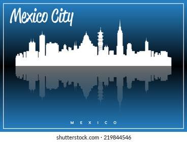 Mexico City, skyline silhouette vector design on parliament blue background.