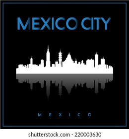 Mexico City, Mexico skyline silhouette vector design on parliament blue and black background.