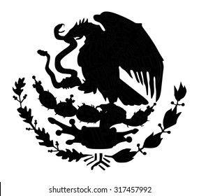 Mexico coat of arms, seal, national emblem, isolated on white background. Vector Coat of arms of Mexico silhouette illustration. Original and simple Mexico coat of arms Proportion Correctly.