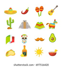 Mexico colorful icons set, vector illustration. Mexican sombrero, taco, pinata and other design elements