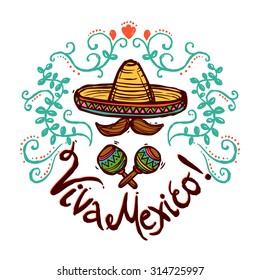 Mexico concept with sketch sombrero maracas and floral ornament vector illustration