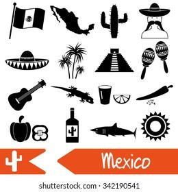 Mexico country theme symbols icons set eps10
