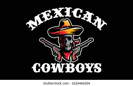 Mexico cowboys skull head with sombrero hat and gun for t-shirt design isolated on black background