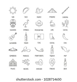 Mexico culture and traditions outline icons set. Mexico objects vector illustration isolated on white background. Elements of Mexico architecture and religion.
