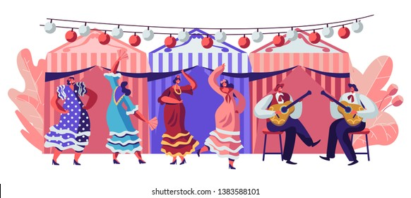 Mexico Dancers at Cinco De Mayo Festival. Mexican and Latin Music Folk Celebration. Girls in Traditional Dresses Dancing at Music Playing with Guitarist in Sombrero Cartoon Flat Vector Illustration