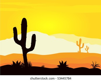 Mexico desert sunset with cactus plants silhouette and mountains. Yellow desert scene with cactus palnts, weeds and mountains. Sunset in mexico desert.