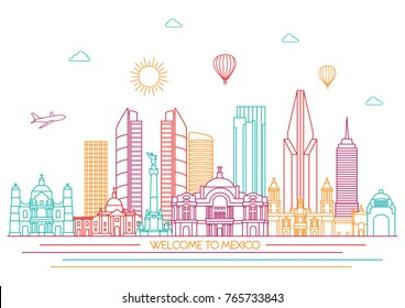 Mexico detailed Skyline. Travel and tourism background. Vector background. line illustration. Line art style