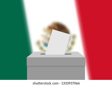 Mexico election banner background. Ballot Box with blurred flag