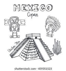 Mexico famous landmarks,Chichen Itza aztec Pyramid background.Vector Hand drawn doodle Travel sketchy.Vintage historic color design background. Architectural landmarks.Retro Illustration.