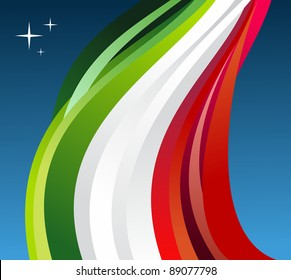 Mexico flag illustration fluttering on blue background. Vector file available.