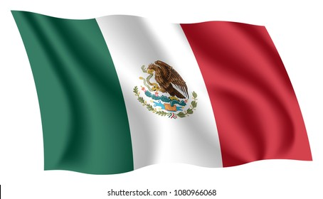 Mexico flag. Isolated national flag of Mexico. Waving flag of the United Mexican States. Fluttering textile mexican flag.