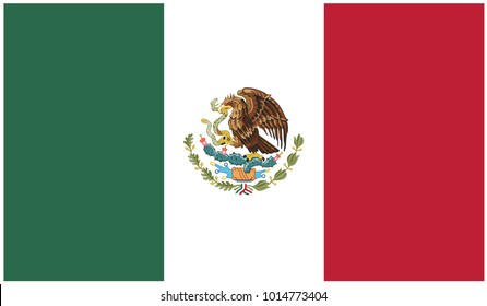 Mexico flag, official colors and proportion correctly. National Mexico flag. Vector illustration. EPS10
