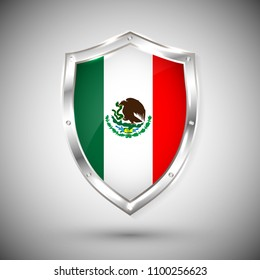 Mexico flag on metal shiny shield vector illustration. Collection of flags on shield against white background. Abstract isolated object.