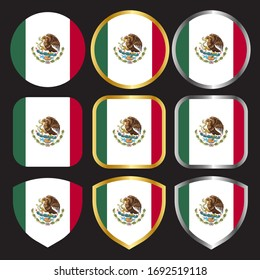 mexico flag vector icon set with gold and silver border