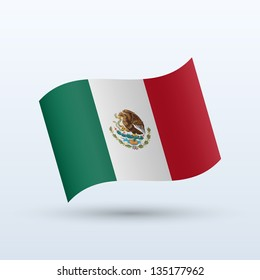 Mexico flag waving form on gray background. Vector illustration.