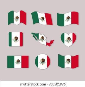 mexico flags collection colorful silhouettes in many forms