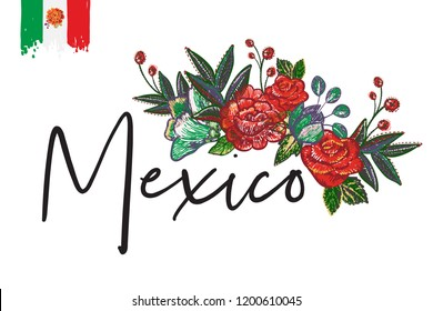 Mexico flowers embroidery. Lettering text, element for decoration traditional mexican holiday. black background.