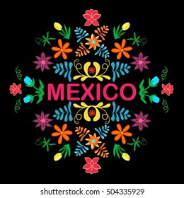 Mexico flowers, pattern and elements. Traditional Mexican ornament. Vector illustration