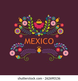 Mexico flowers, pattern and elements. Vector illustration