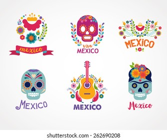 Mexico flowers, skull and food elements. Vector illustration