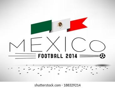 Mexico Football Design with Flag