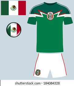 Mexico Football Jersey. Abstract vector image of the Mexican football team kit, along with flag and icon.